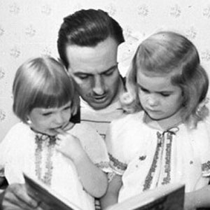 Walt Disney with daughters Sharon and Diane